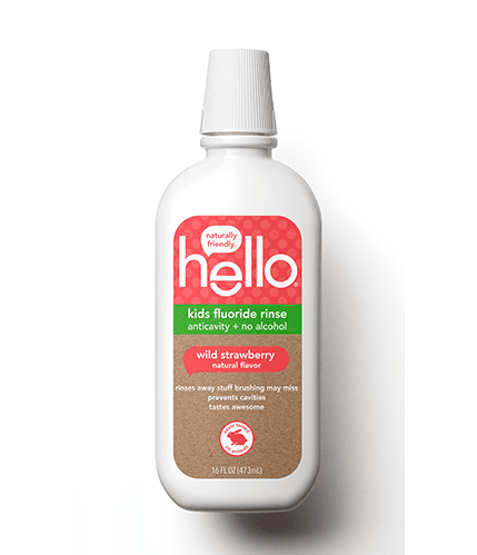 Hello Kids Fluoride Rinse in Natural Wild Strawberry Flavor