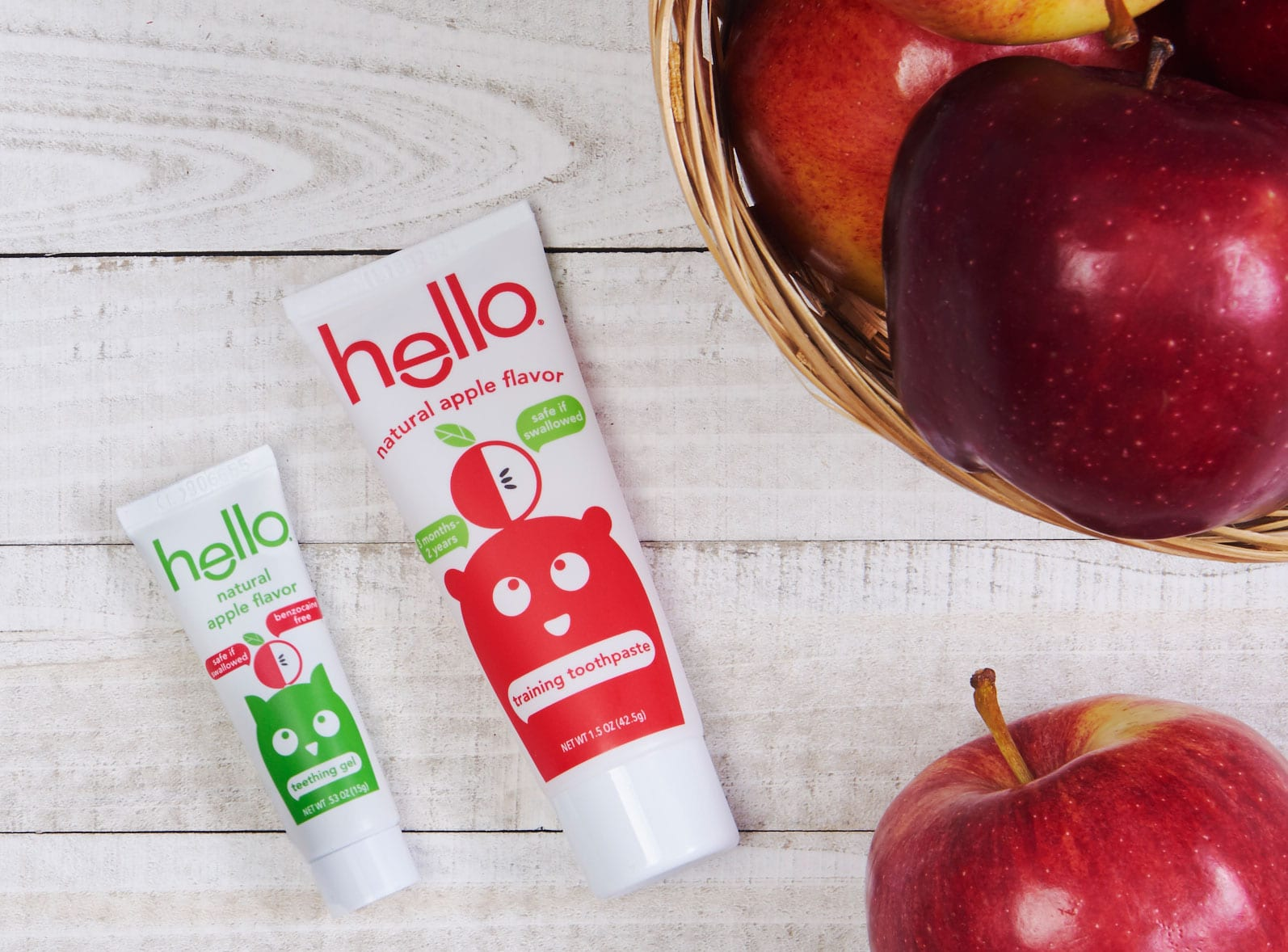 kids apple toothpaste and teething gel
