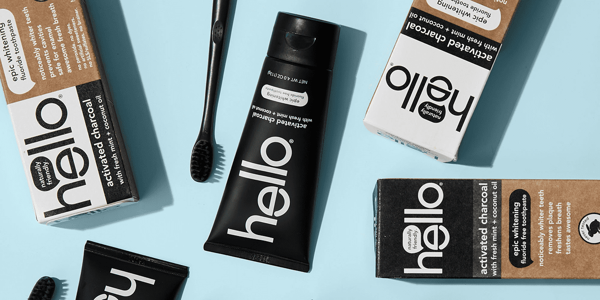charcoal toothpaste and black toothbrush