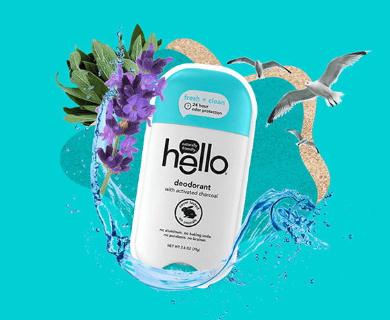 image of fresh + clean deodorant surrounded by waves, lavender, birds and sand